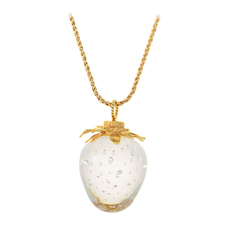 Steuben Lead Crystal Yellow Gold Strawberry Pendant