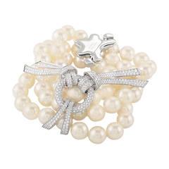 Chanel Les Perles de Chanel Pearl Diamond White Gold Bracelet