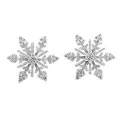 Van Cleef & Arpels Diamond White Gold Snowflake Clip-On Earrings