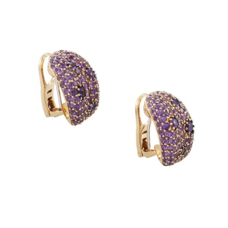 Roberto Coin Fantasia Amethyst Rose Gold Huggie Earrings