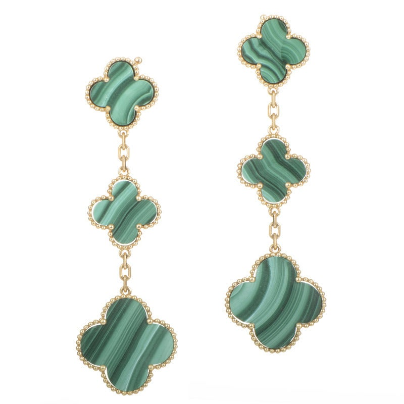 Van Cleef Arpels Magic Alhambra Malachite Yellow Gold Earrings For