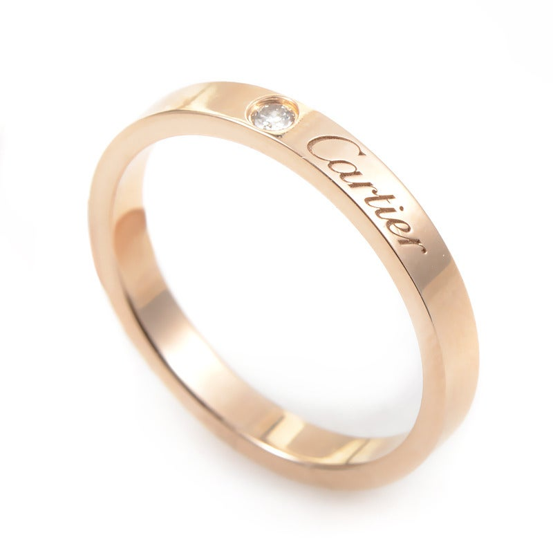 Cartier Diamond Rose Gold Signature Band Ring at 1stdibs