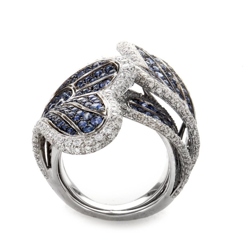 sapphire white gold butterfly band ring at 1stdibs