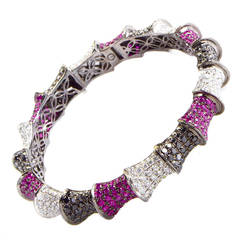 Ruby Multi Diamond Gold Bangle Bracelet