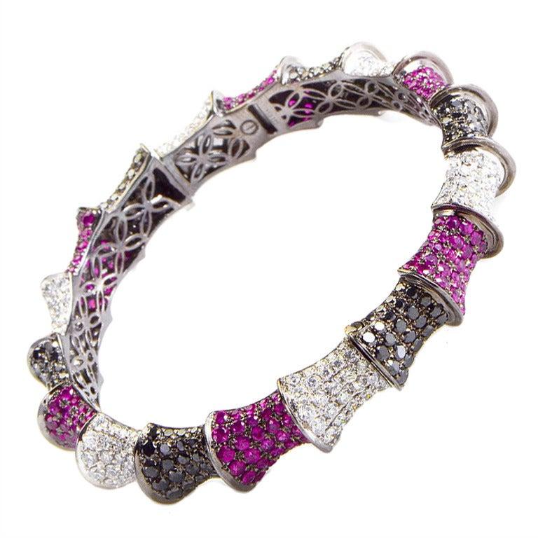 Ruby Multi Diamond Gold Bangle Bracelet