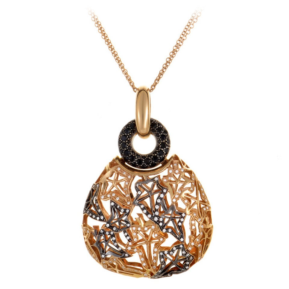 black and white diamond rose gold pendant necklace at 1stdibs