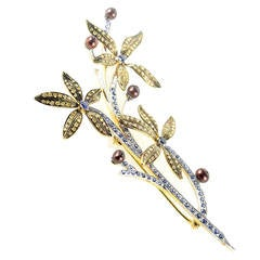 Yellow Gold Multi-Gem Floral Branch Brooch