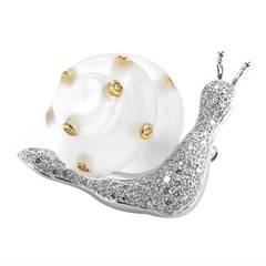 Multi-Gold Diamond and Quartz Snail Pin