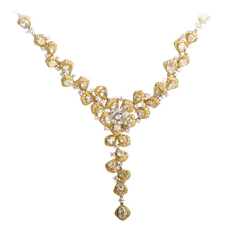 Diamond Two Color Gold Floral Necklace For Sale