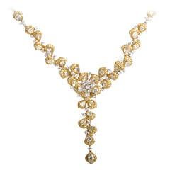 Diamond Two Color Gold Floral Necklace