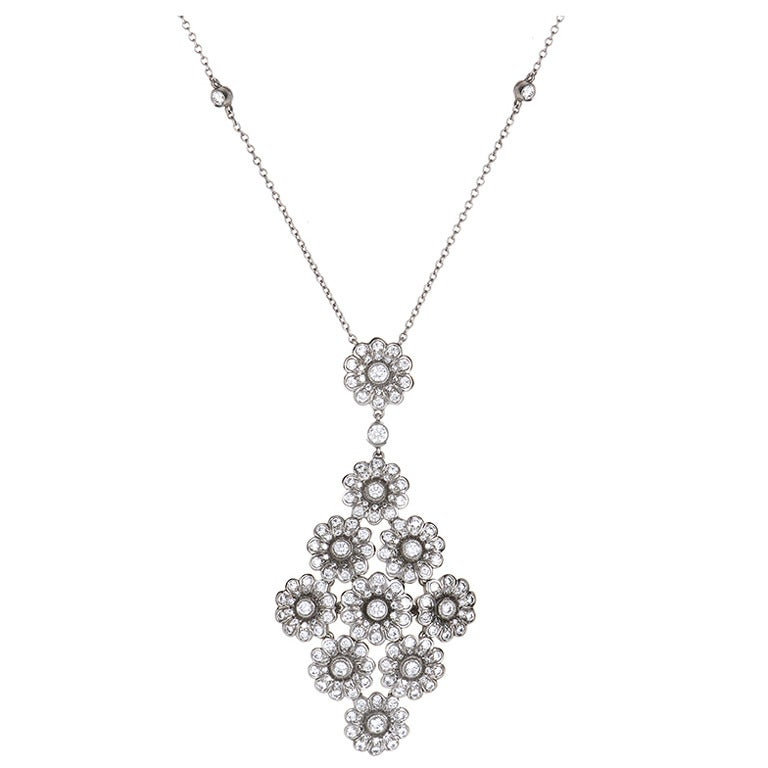 Tiffany & Co. Diamond Platinum Flower Cluster Pendant Necklace 1