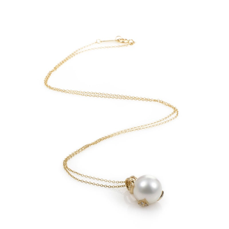 Tiffany And Co Pearl Diamond Yellow Gold Pendant Necklace