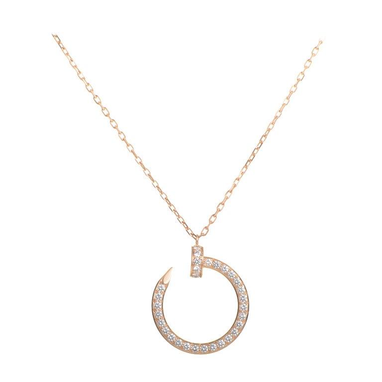 Cartier Juste un Clou Diamond Rose Gold Pendant Necklace ...