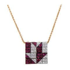 Enigma by Bulgari Enigma Multi-Gold Diamond and Ruby Arrow Pendant Necklace