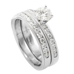 Hearts on Fire Platinum Diamond Engagement Ring Set