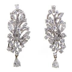 Diamond Platinum Branch Earrings