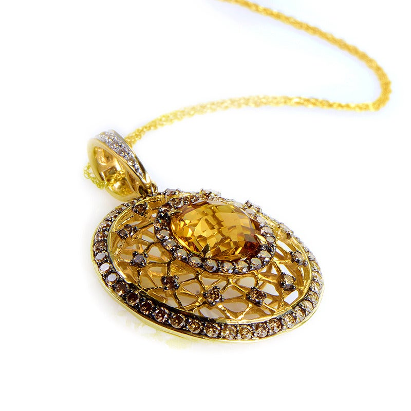 LeVian Citrine Champagne Diamond Gold Pendant Necklace 3
