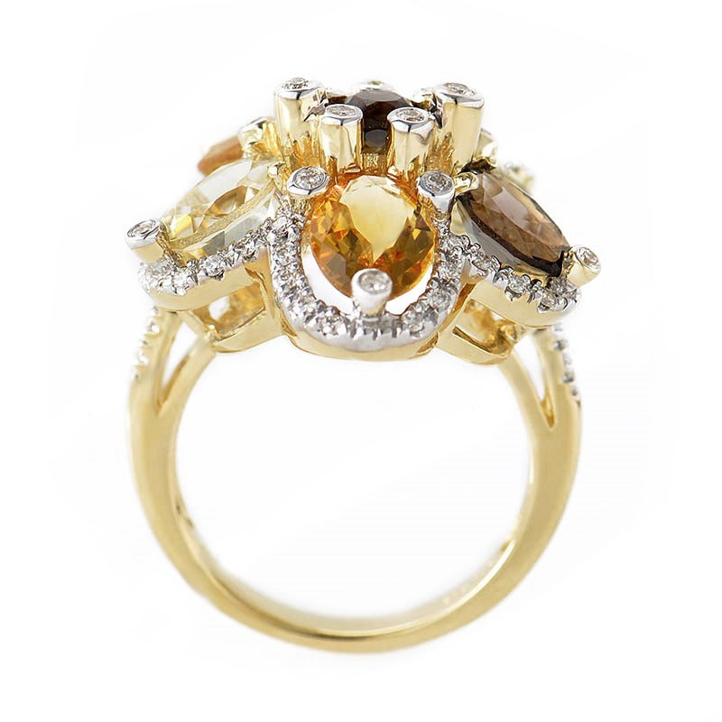LeVian Smoky Topaz Citrine Gold Flower Ring 2