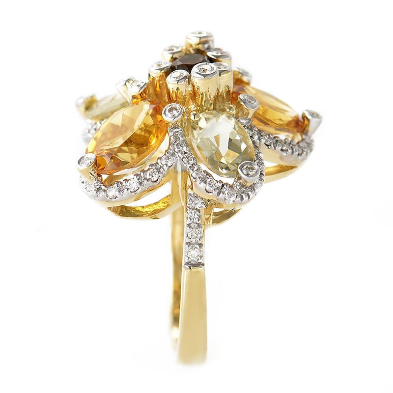 LeVian Smoky Topaz Citrine Gold Flower Ring 3