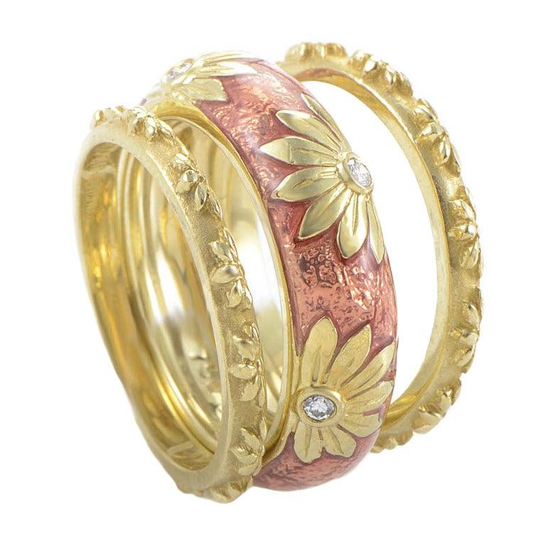 hidalgo yellow gold floral ring set at 1stdibs