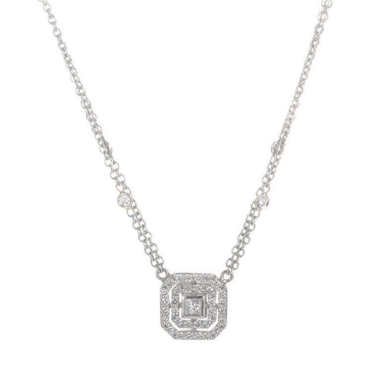 leslie greene square white gold pendant necklace