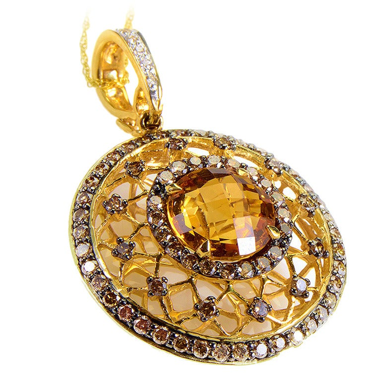 LeVian Citrine Champagne Diamond Gold Pendant Necklace 1