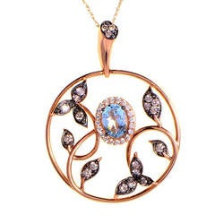 Le Vian Diamond and Aquamarine Rose Gold Leaf Pendant Necklace