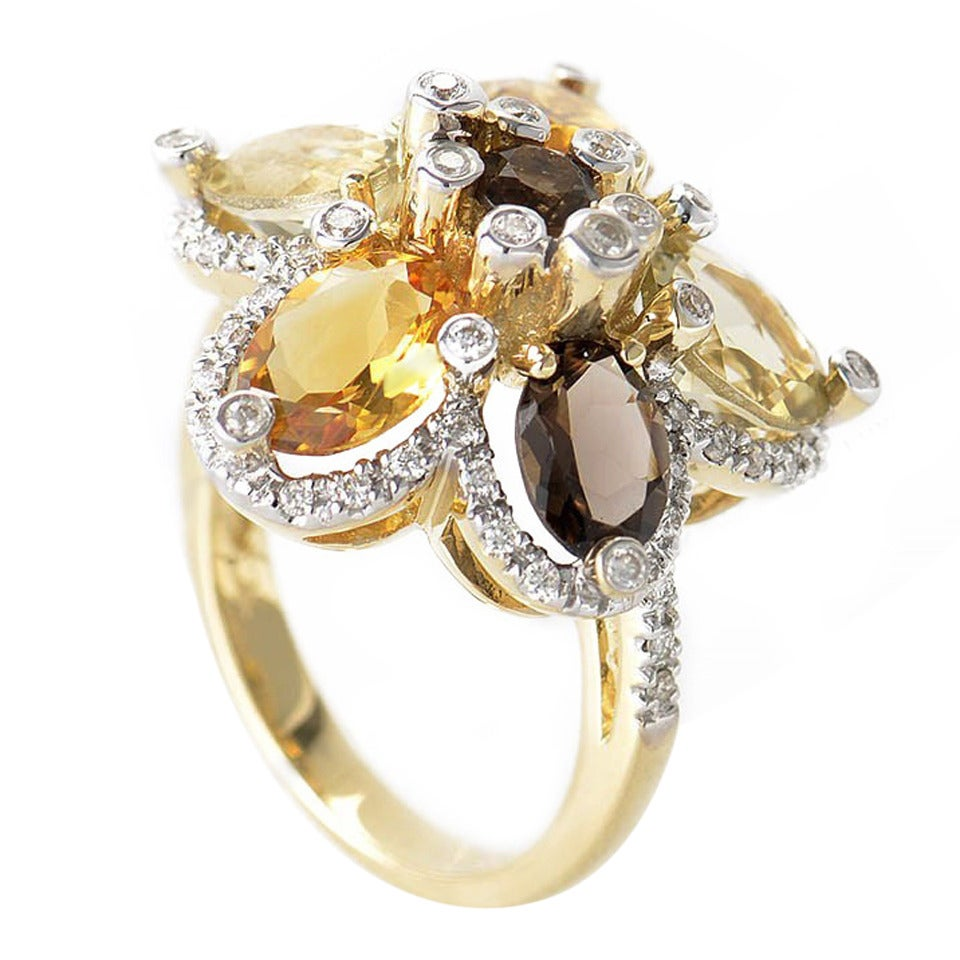 LeVian Smoky Topaz Citrine Gold Flower Ring 1