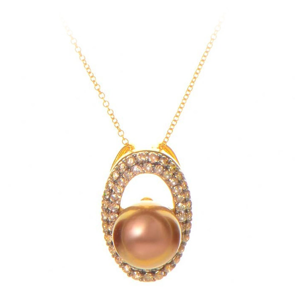 LeVian Brown Pearl Diamond Gold Pendant Necklace For Sale
