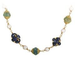Precious Gemstone Yellow Gold Collar Necklace