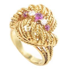 Tiffany & Co. Ruby Diamond Gold Rope Ring