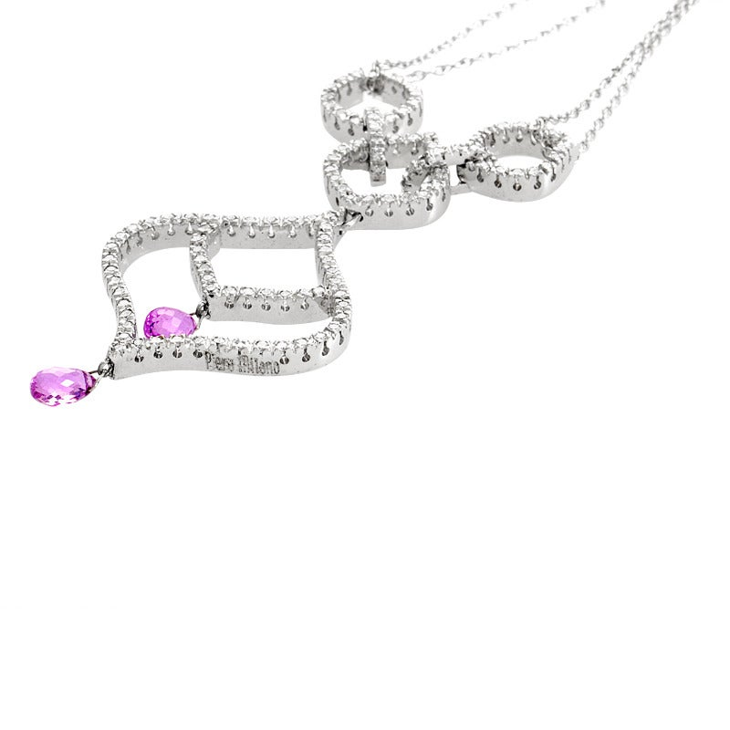 5c9d024d6 Piero Milano Pink Sapphire Diamond White Gold Pendant Necklace In New  Condition For Sale In Southhampton