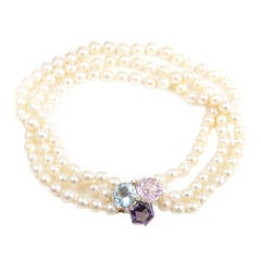 Seaman Schepps Three-Strand Pearl Gemstone Yellow Gold Cluster Necklace