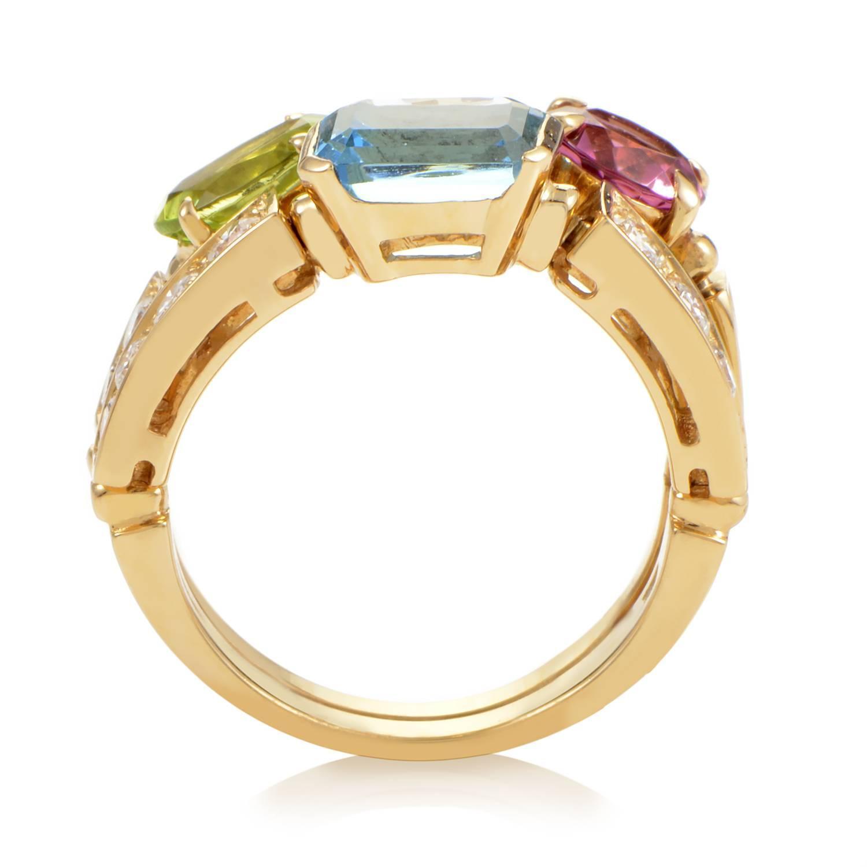 bulgari yellow gold diamond and multi colored stone ring. Black Bedroom Furniture Sets. Home Design Ideas