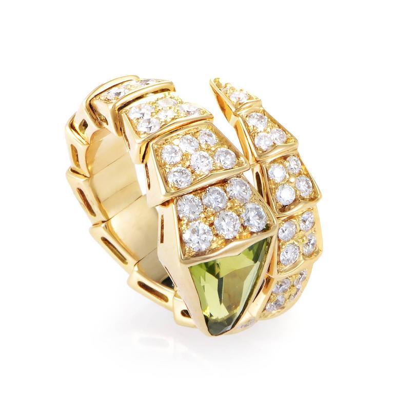 bulgari serpenti peridot diamond gold ring 2