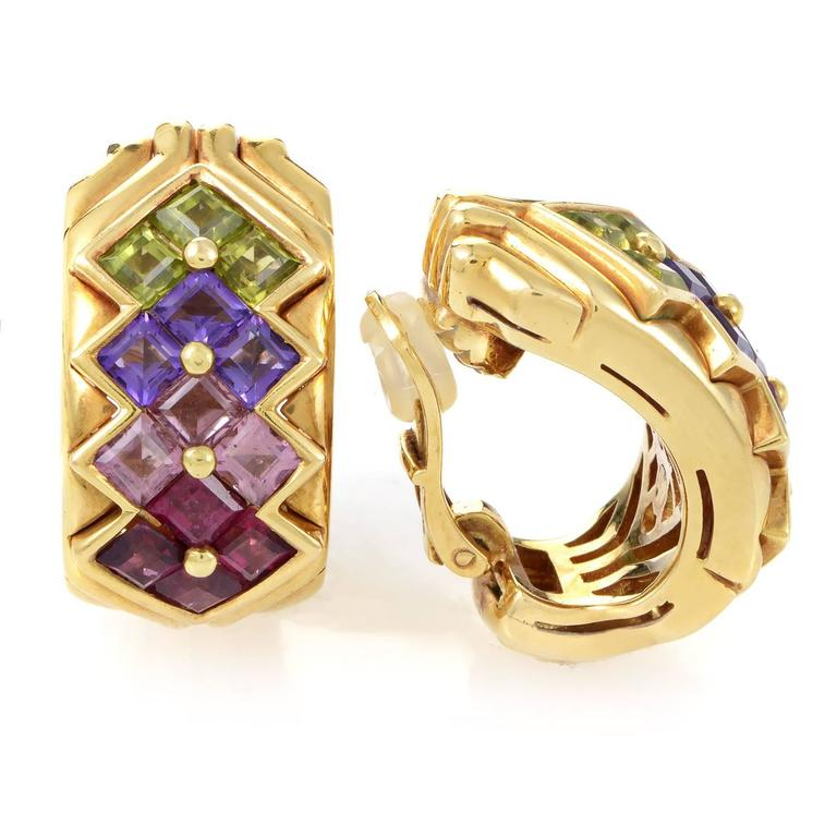 bulgari multicolor stone gold clipon earrings 2
