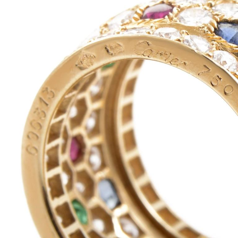 Women's Cartier Panthere Multi-Stone Diamond Gold Ring For Sale