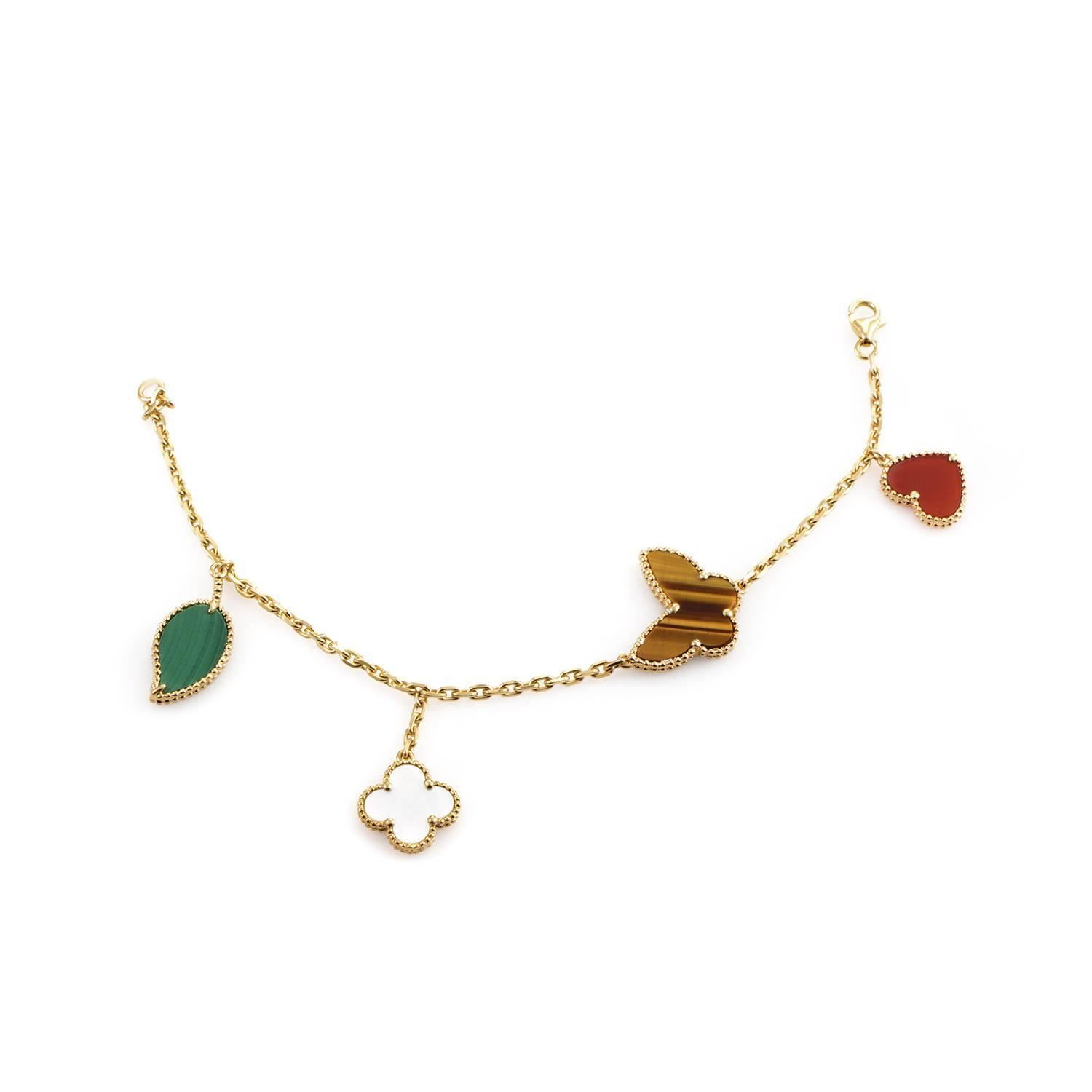 Van Cleef Lucky Alhambra Necklace: Van Cleef And Arpels Lucky Alhambra Gold Charm Bracelet At