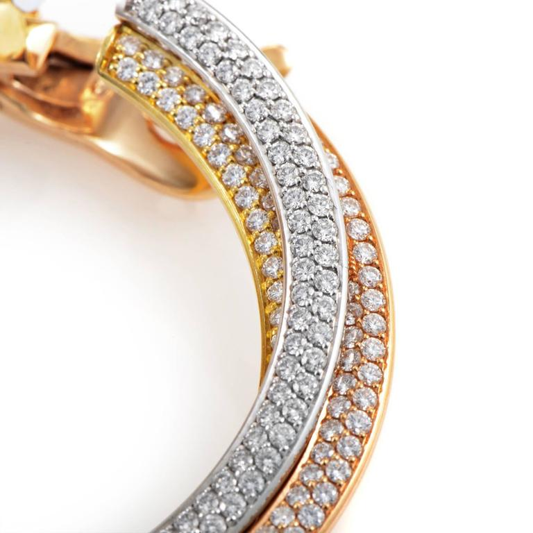 Cartier Trinity Tri-Gold Diamond Hoop Earrings In Excellent Condition For Sale In Southhampton, PA