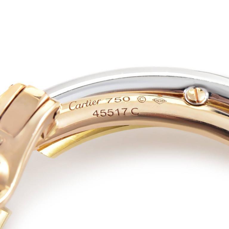 Women's Cartier Trinity Tri-Gold Diamond Hoop Earrings