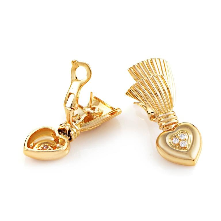 Van Cleef & Arpels Diamond Gold Heart Earrings 2