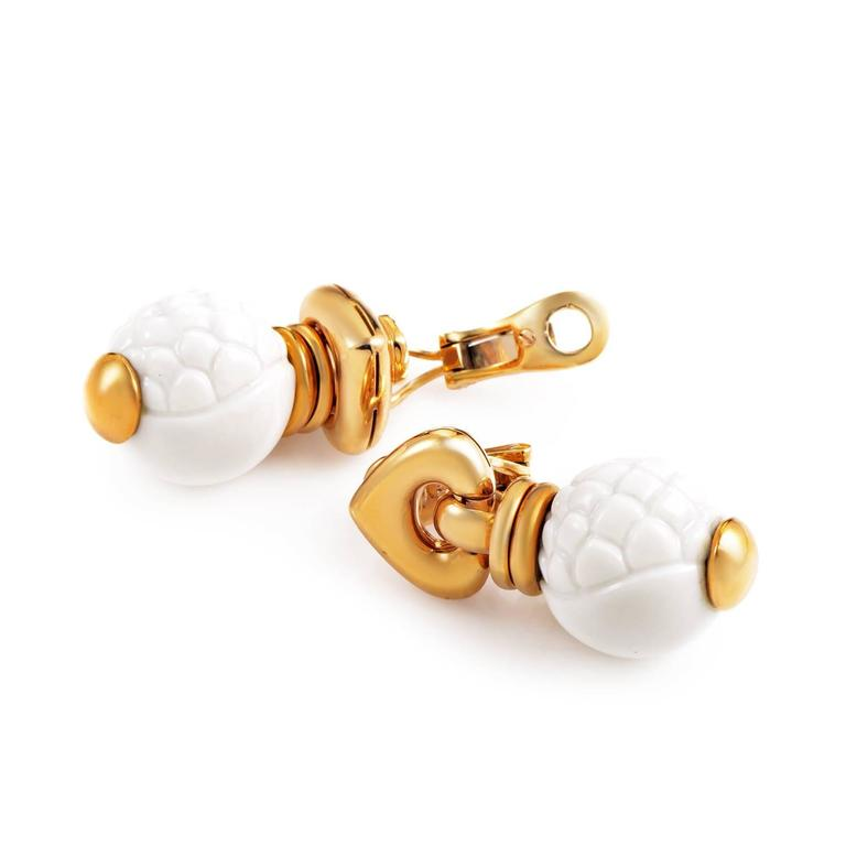 Bulgari Chandra Ceramic Gold Earrings 2