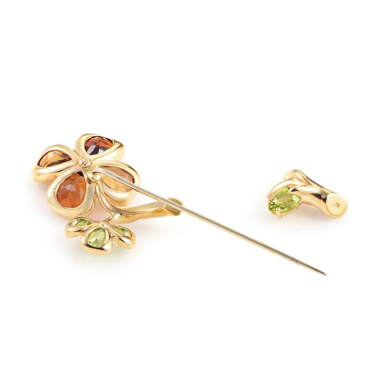 Chanel Yellow Gold Floral Gemstone Pin 2