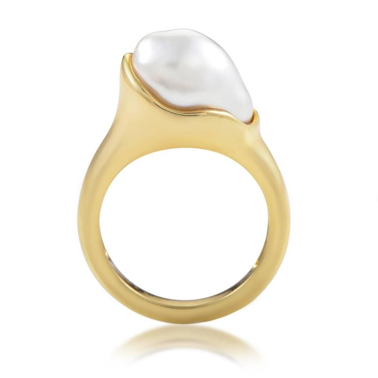 Tiffany And Co Elsa Peretti Pearl Gold Ring At 1stdibs