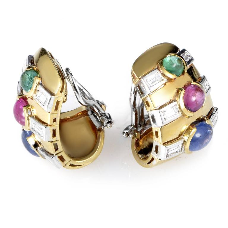 Multicolor Gold Precious Gemstone Clip-on Earrings 2