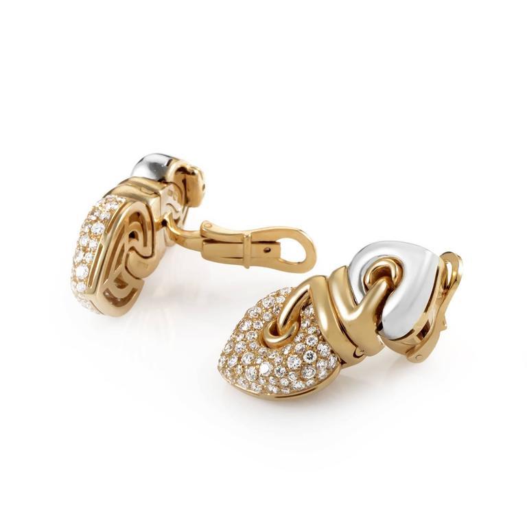 Bulgari Diamond Multi-Color Gold Clip-On Earrings 3