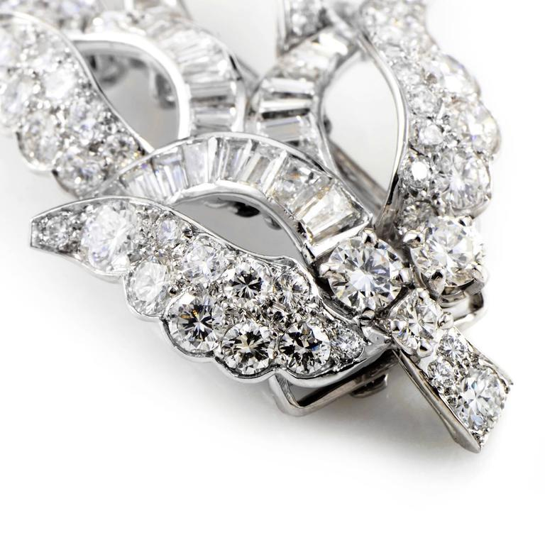 1960s Cartier Monture Diamond Platinum Brooch 2