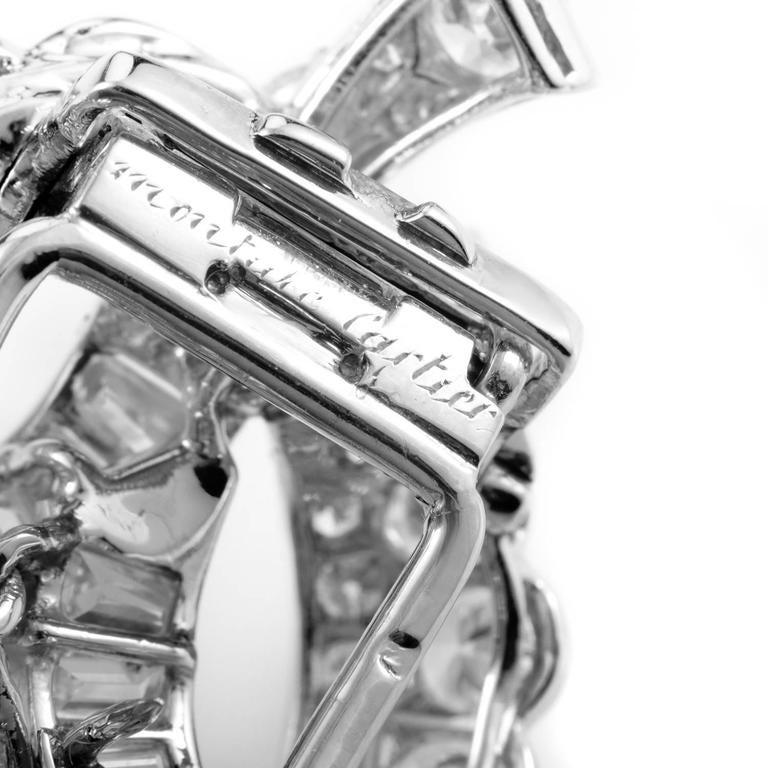 1960s Cartier Monture Diamond Platinum Brooch 4