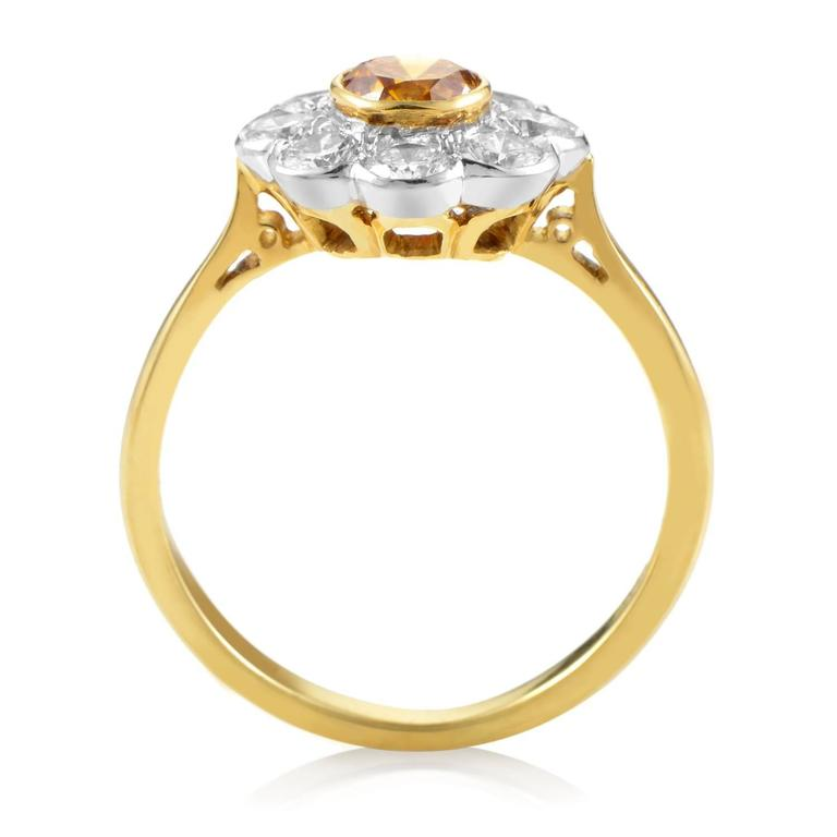 Garrard Orange and White Diamond Multi-Color Gold Flower Ring 2