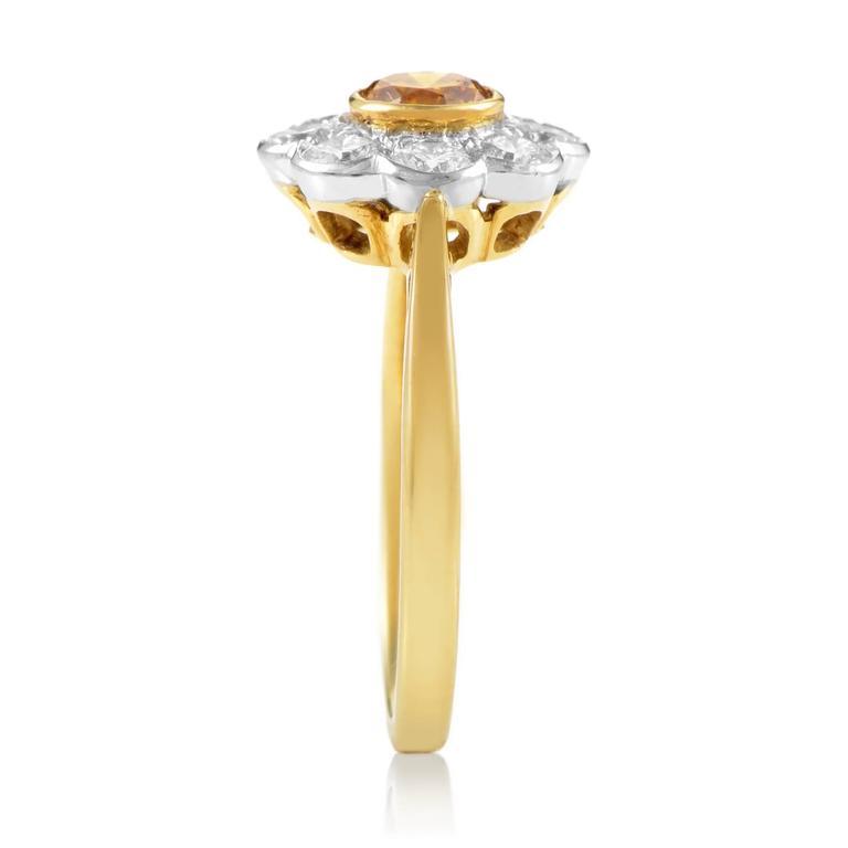 Garrard Orange and White Diamond Multi-Color Gold Flower Ring 3